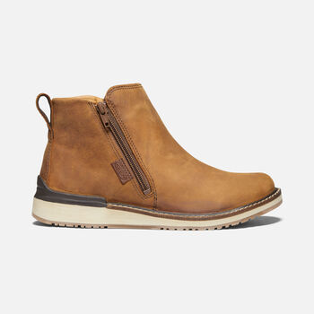 WOMEN'S BAILEY ANKLE ZIP CASUAL BOOTS in COGNAC - large view.