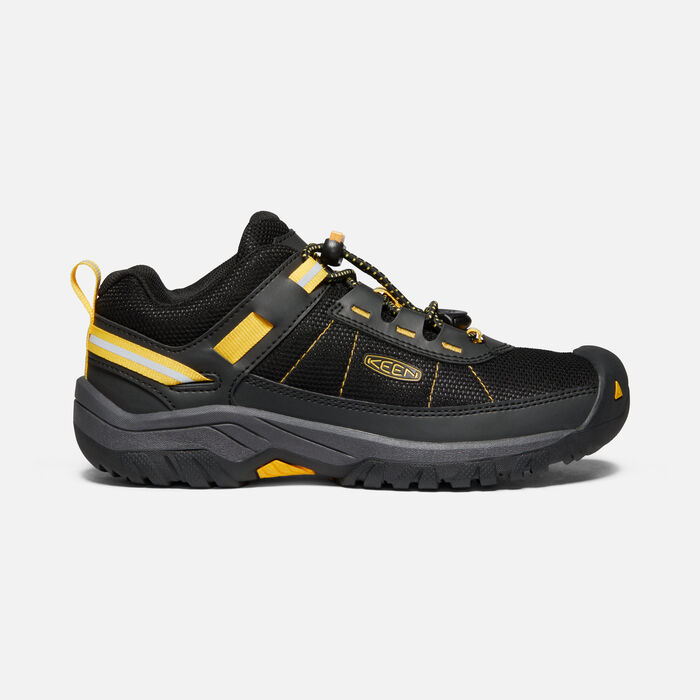 Older Kids' Targhee Sport Vent Hiking Trainers in Black/KEEN Yellow - large view.