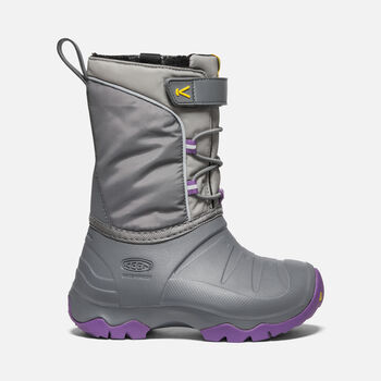 Little Kids' LUMI Waterproof Winter Boot in STEEL GREY/ROYAL LILAC - large view.