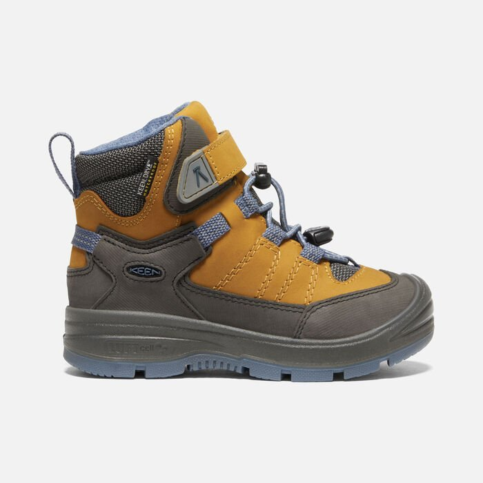 Younger Kids' Redwood Mid Waterproof Boots in Harvest Gold/Vintage Indigo - large view.