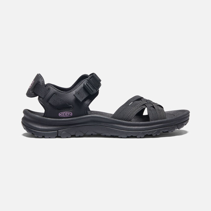 Women's Terradora II Strappy Open-Toe Sandals in Black/African Violet - large view.