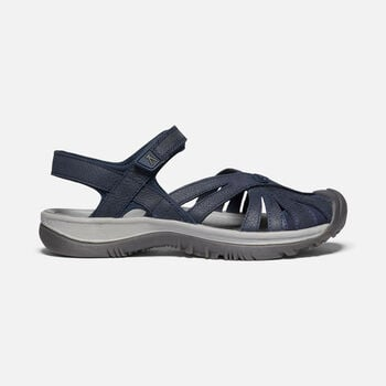 Women's Rose Leather Sandal in Navy - large view.