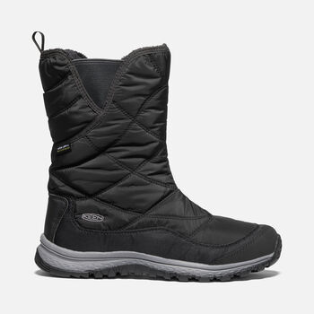 Women's Terradora Pull On Waterproof Winter Boots in BLACK/RAVEN - large view.