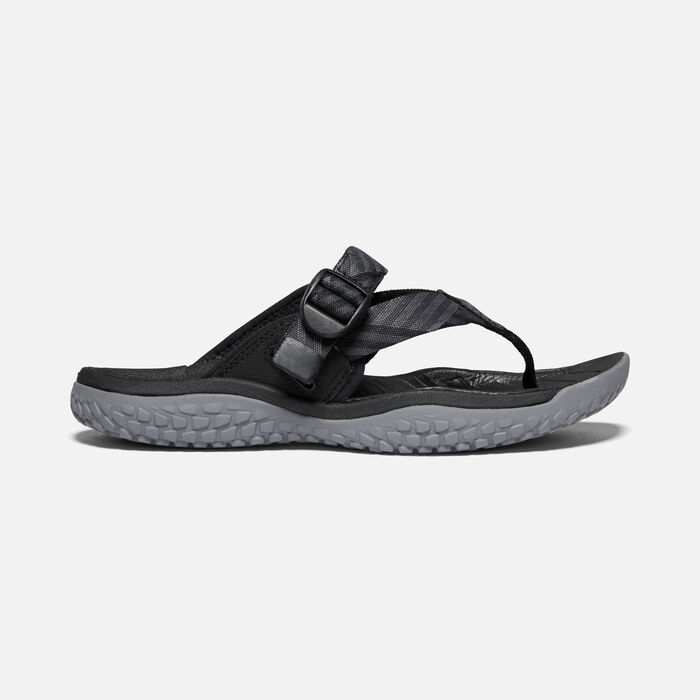 Women's SOLR Toe Post Sandals in Black/Steel Grey - large view.