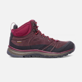WOMEN'S TERRADORA LEATHER WATERPROOF MID HIKING BOOTS in Wine/Rhododendron - large view.