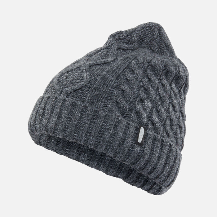 Cable Knit Beanie in Grey - large view.