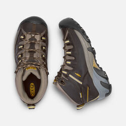 MEN'S TARGHEE II WATERPROOF WIDE FIT MID HIKING BOOTS in Black Olive/Yellow - small view.