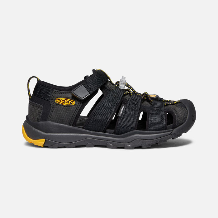 Younger Kids' Newport Neo H2 Sandals in Black/KEEN Yellow - large view.