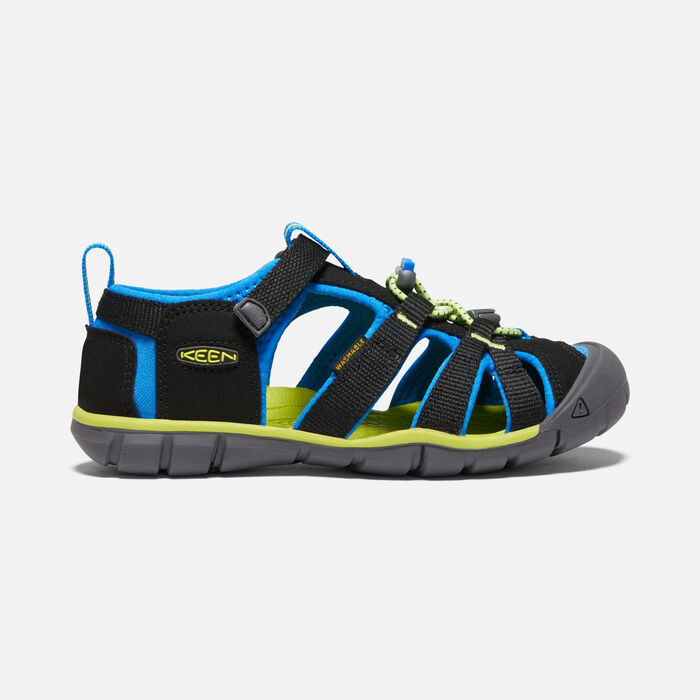 Older Kids' Seacamp II Cnx Sandals in Black/Brilliant Blue - large view.