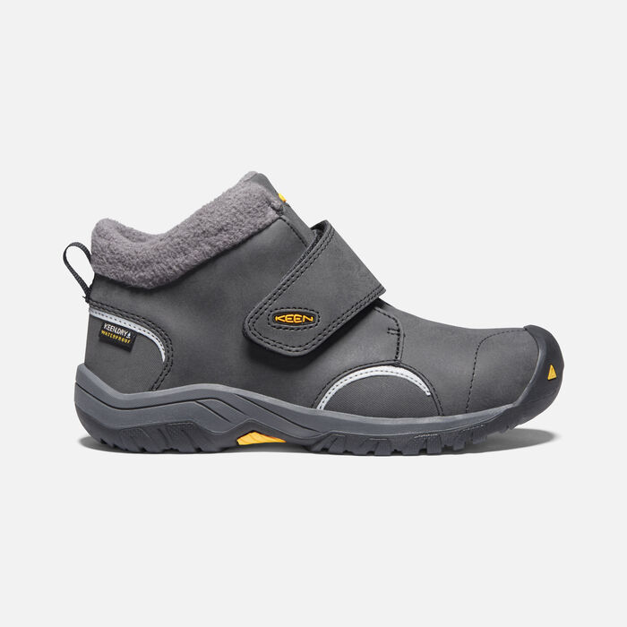 Big Kids' Kootenay III Waterproof Boot in Black/KEEN Yellow - large view.