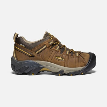 Men's Targhee II Waterproof Wide Fit Hiking Shoes in Cascade Brown/Golden Yellow - large view.