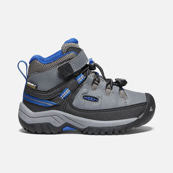 Younger Kids' Targhee Waterproof Hiking Boots in STEEL GREY/BALEINE BLUE - large view.