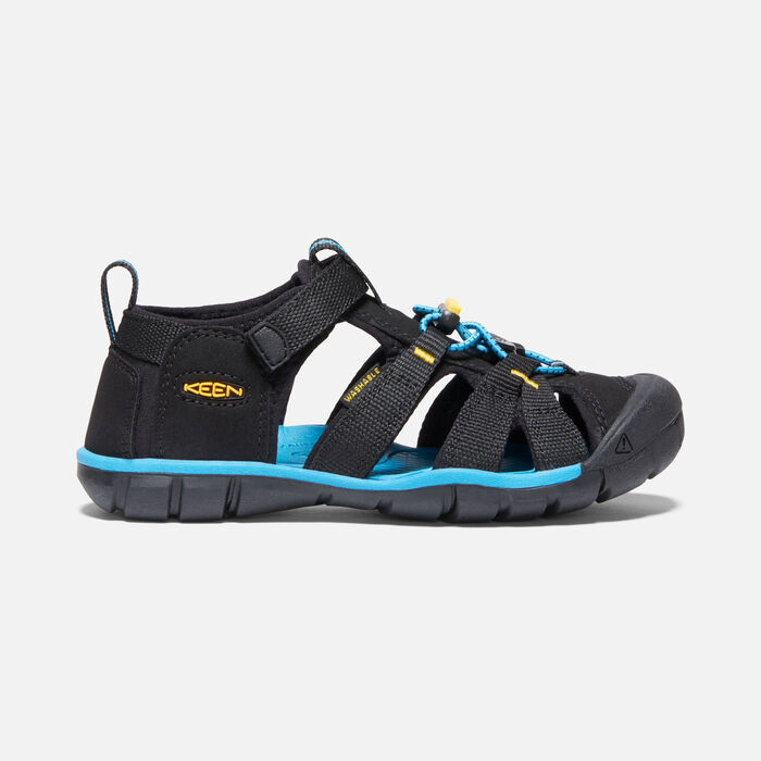 Older Kids' Seacamp II Cnx Sandals in Black/KEEN Yellow - large view.