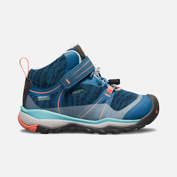 Younger Kids' Terradora Waterproof Mid Hiking Boots in AQUA SEA/CORAL - large view.