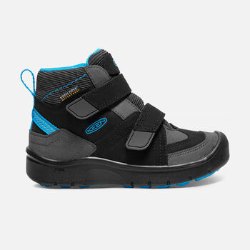 Younger Kids' Hikeport Strap Waterproof Mid Hiking Boots in Black/Blue Jewel - large view.
