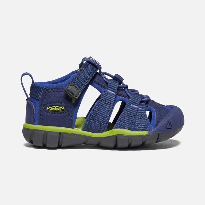 Toddlers' Seacamp II Cnx Sandals in Blue Depths/Chartreuse - large view.