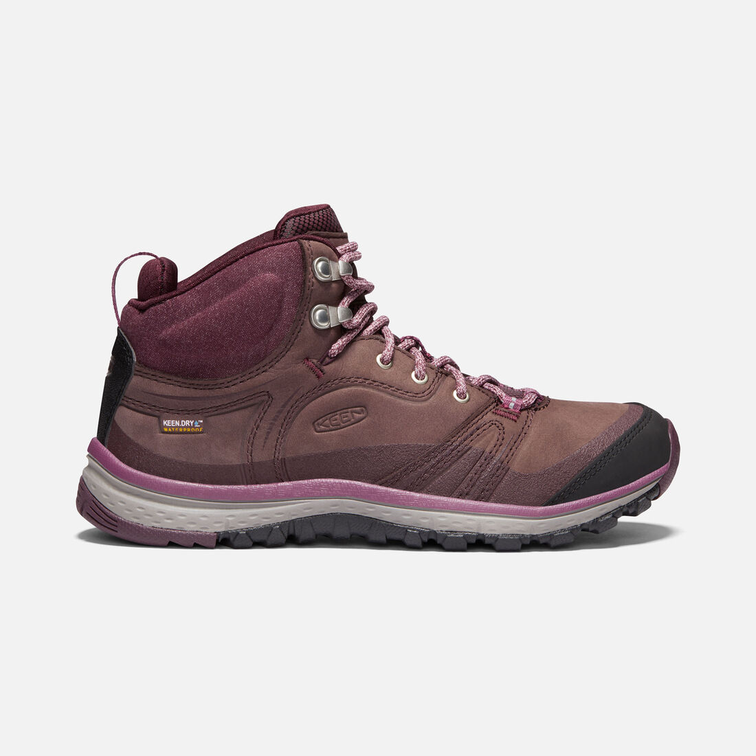WOMEN'S TERRADORA LEATHER WATERPROOF MID HIKING BOOTS in PEPPERCORN/WINE TASTING - large view.