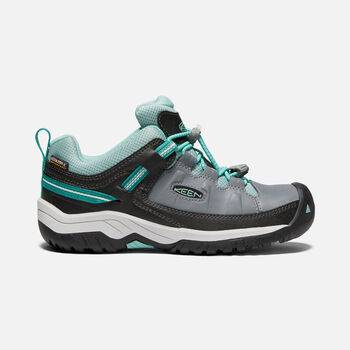 Older Kids'Targhee Waterproof Hiking Shoes in STEEL GREY/WASABI - large view.