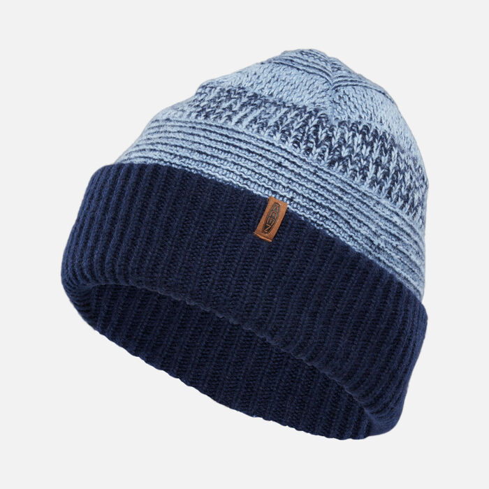 Reversed Press Beanie in Navy - large view.