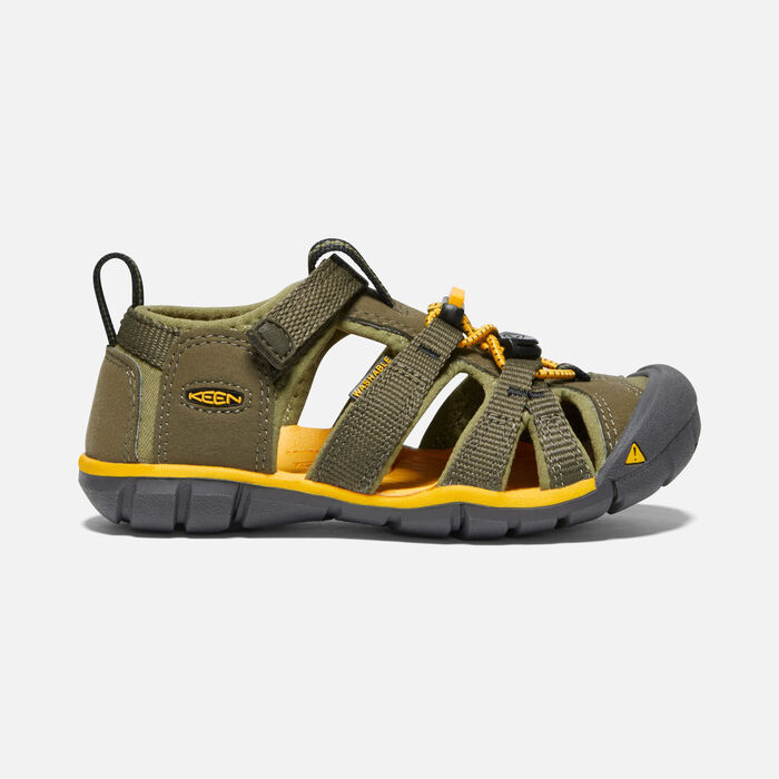 Younger Kids' Seacamp II Cnx Sandals in Military Olive/Saffron - large view.