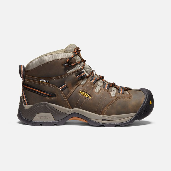 Men's Detroit XT Waterproof Boot (Soft Toe) in BLACK OLIVE/LEATHER BROWN - large view.