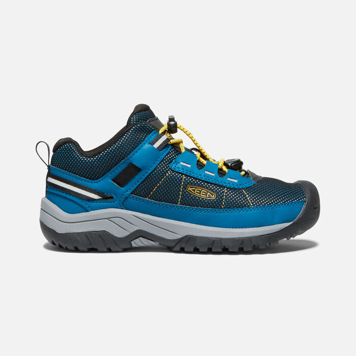 Big Kids' Targhee Sport Vent Shoe in Mykonos Blue/KEEN Yellow - large view.