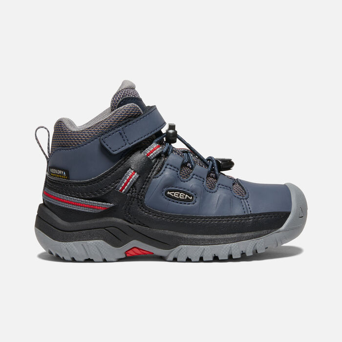 Younger Kids' Targhee Waterproof Hiking Boots in Blue Nights/Red Carpet - large view.