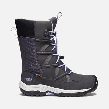Older Kids' Hoodoo Waterproof Winter Boots in BLACK/SWEET LAVENDER - large view.