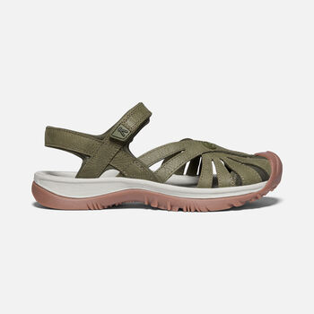Women's Rose Leather Sandals in Forest Night - large view.