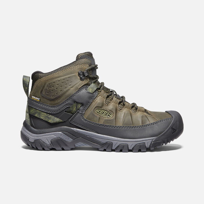 Men's Targhee III Waterproof Mid in Dark Olive/Black - large view.
