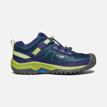 Older Kids' Targhee Sport Vent Hiking Trainers in Blue Depths/Chartreuse - large view.