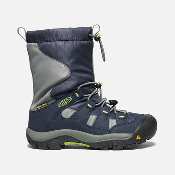 Older Kids' Winterport Waterproof Boots in BLUE NIGHTS/GREENERY - large view.