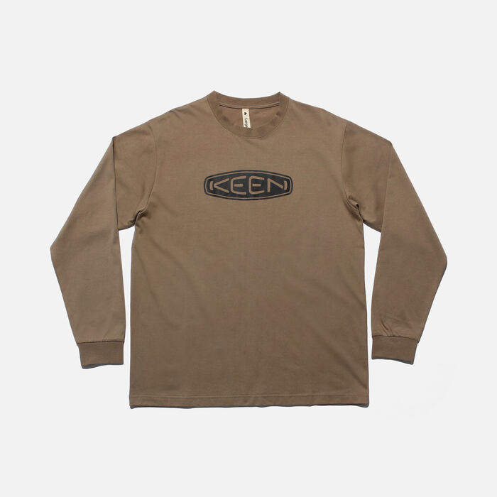 KEEN ベーシック ロゴ L/S Tシャツ in Plaza Taupe/Black - large view.