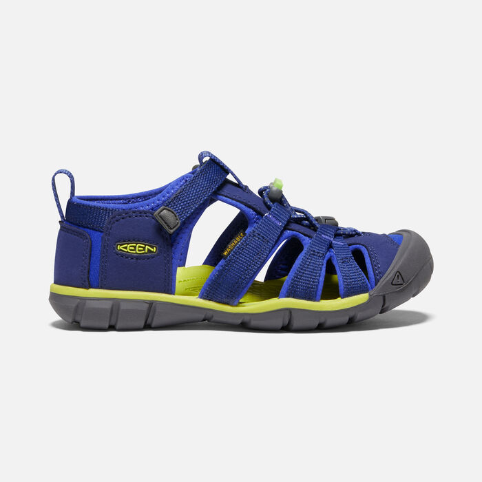 Older Kids' Seacamp II Cnx Sandals in Blue Depths/Chartreuse - large view.
