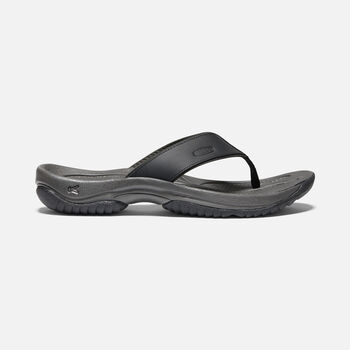 MEN'S KONA FLIP PREMIUM LEATHER FLIP FLOP SANDALS in BLACK/RAVEN - large view.