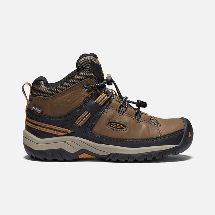 Older Kids' Targhee Waterproof Hiking Boots in DARK EARTH/GOLDEN BROWN - large view.