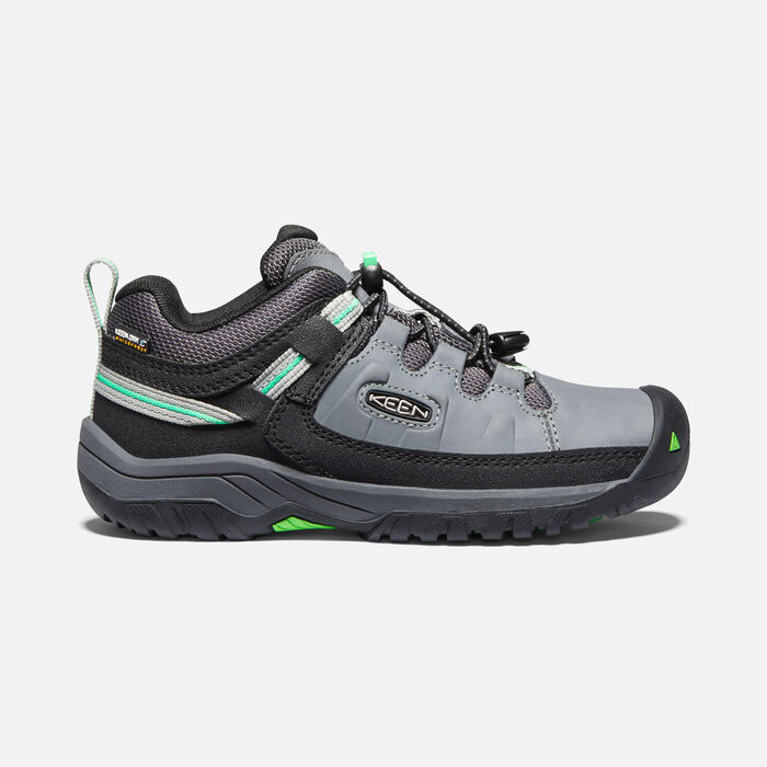 Older Kids'Targhee Waterproof Hiking Shoes in Steel Grey/Irish Green - large view.