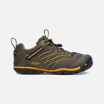 Older Kids' Chandler Cnx Waterproof Trainers in Dark Olive/Citrus - large view.