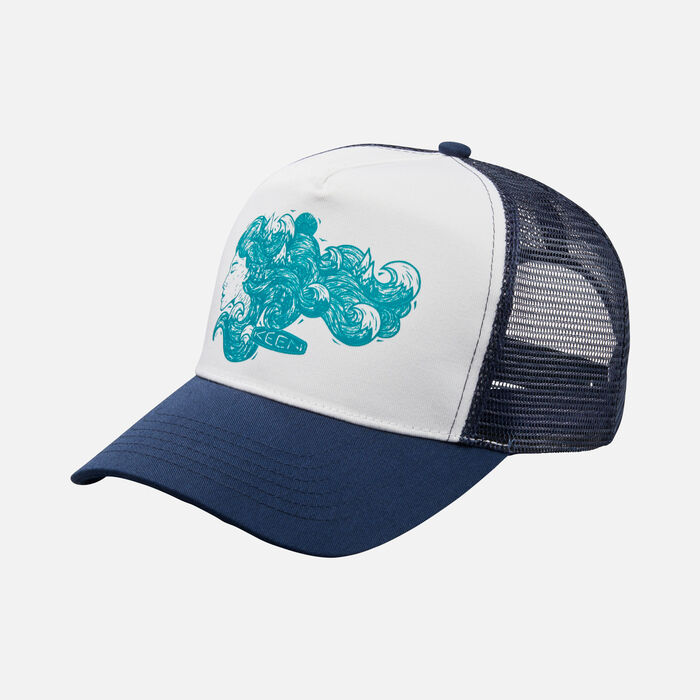 'Woman Dreaming' Mesh Hat in Navy - large view.
