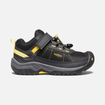 Younger Kids' Targhee Sport Vent Hiking Shoes in Black/Keen Yellow - large view.