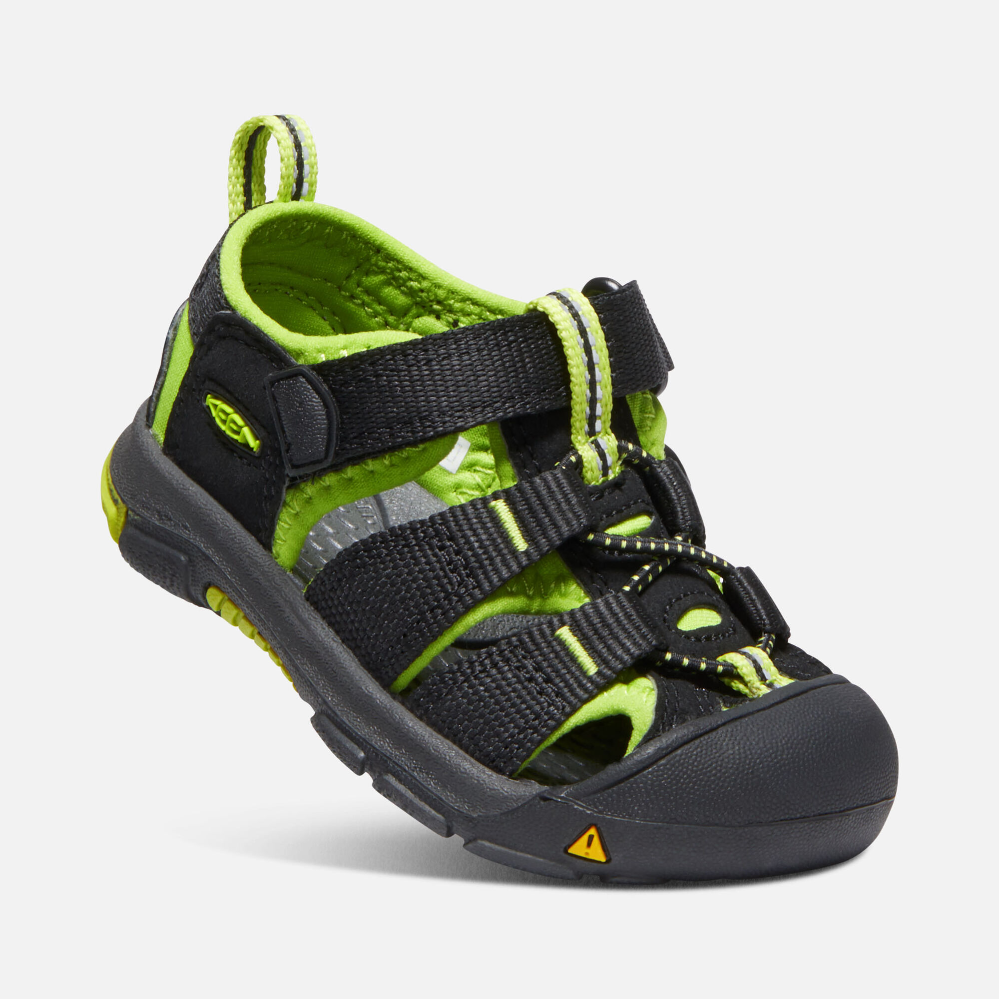 Toddlers  Newport H2 in BLACK LIME GREEN - small view.