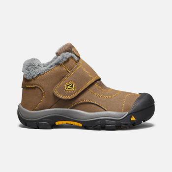 Younger Kids' Kootenay Waterproof Boots in Dark Earth/Spectra Yellow - large view.