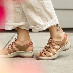 Women's Astoria West Sandal in Toasted Coconut/Rose - on-body view.