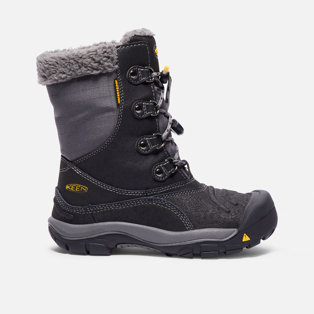 Big Kids' Basin Waterproof Boot in Black/Gargoyle - large view.