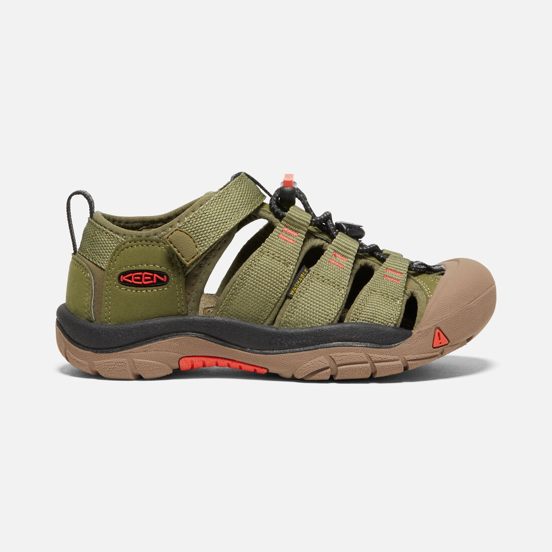 Little Kids' Newport H2 in Olive Drab/Orange - large view.