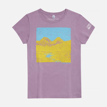 Women's Boulder-White Clouds, ID T-Shirt in Eggplant - large view.