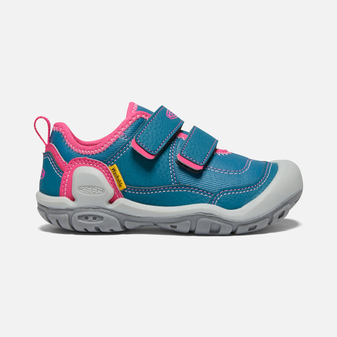 Little Kids' Knotch Hollow Double Strap Sneaker in Blue Coral/Pink Peacock - large view.