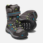 Younger Kids' Levo Waterproof Winter Boots in MAGNET/BLUE JEWEL - small view.