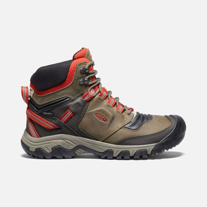 Ridge Flex Waterproof Wanderstiefel für Herren in Dark Olive/Ketchup - large view.