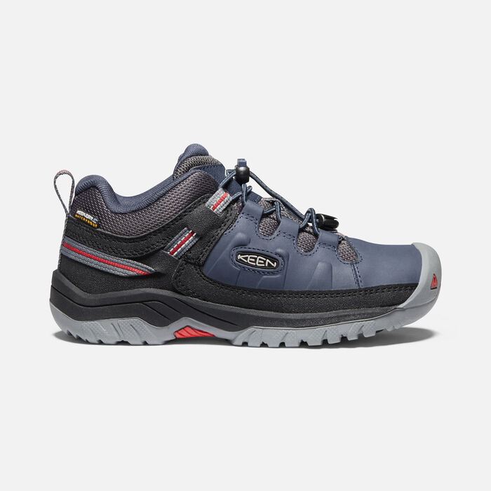 Older Kids'Targhee Waterproof Hiking Shoes in Blue Nights/Red Carpet - large view.